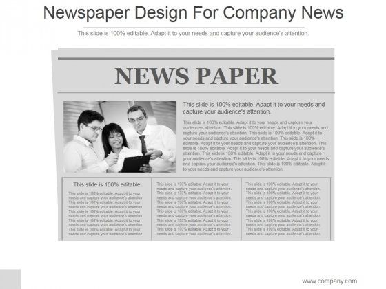 Newspaper Design For Company News Ppt PowerPoint Presentation Slide Download