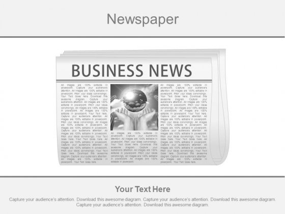 Newspaper Diagram For Global Business News Powerpoint Slides