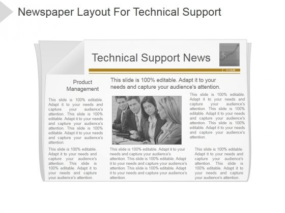 Newspaper Layout For Technical Support Ppt PowerPoint Presentation Designs