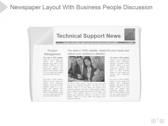Newspaper Layout With Business People Discussion Ppt PowerPoint Presentation Designs Download