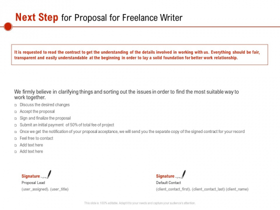 Next Step For Proposal For Freelance Writer Ppt PowerPoint Presentation Inspiration Ideas PDF