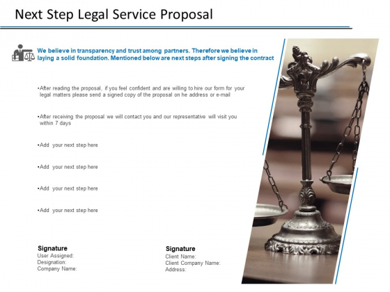 Next Step Legal Service Proposal Ppt PowerPoint Presentation Styles Background Image