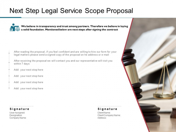 Next Step Legal Service Scope Proposal Ppt PowerPoint Presentation Slides Model