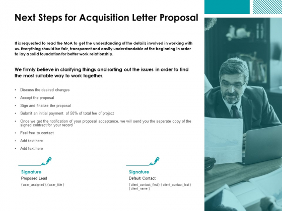 Next Steps For Acquisition Letter Proposal Ppt Powerpoint Presentation Professional Graphics Pictures