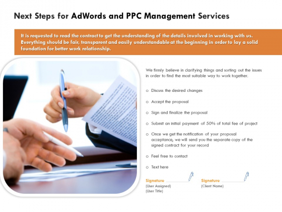 Next Steps For Adwords And PPC Management Services Formats PDF