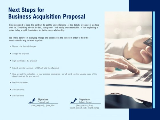 Next Steps For Business Acquisition Proposal Ppt PowerPoint Presentation Infographics Layout