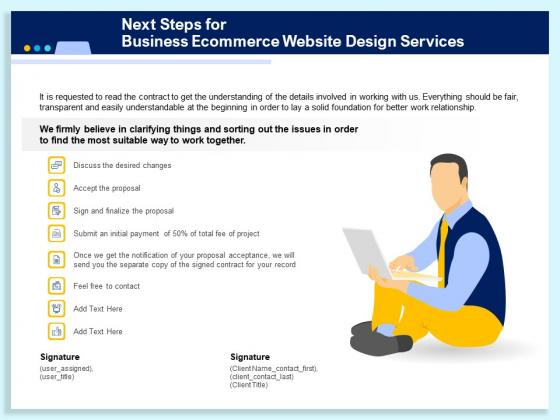 Next Steps For Business Ecommerce Website Design Services Ppt PowerPoint Presentation Infographics Inspiration PDF
