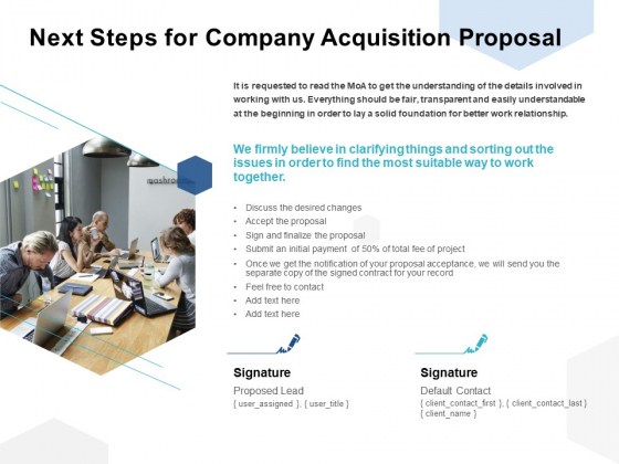 Next Steps For Company Acquisition Proposal Ppt PowerPoint Presentation Inspiration Gridlines