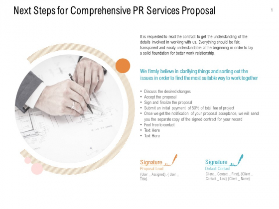 Next Steps For Comprehensive PR Services Proposal Ppt PowerPoint Presentation Gallery Clipart