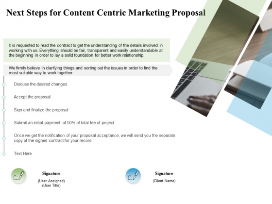 Next Steps For Content Centric Marketing Proposal Ppt PowerPoint Presentation Infographic Template Rules
