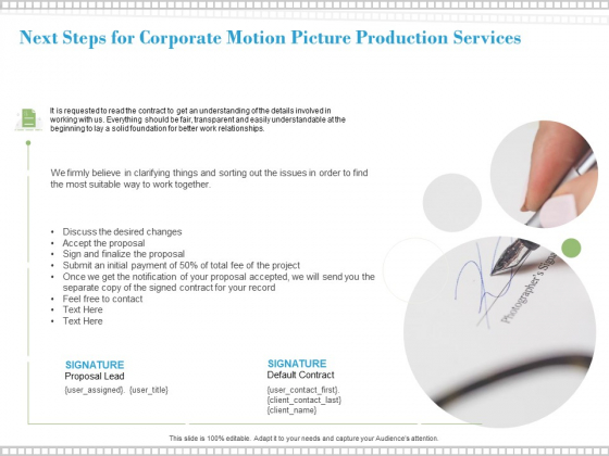 Next Steps For Corporate Motion Picture Production Services Ppt PowerPoint Presentation Outline Show
