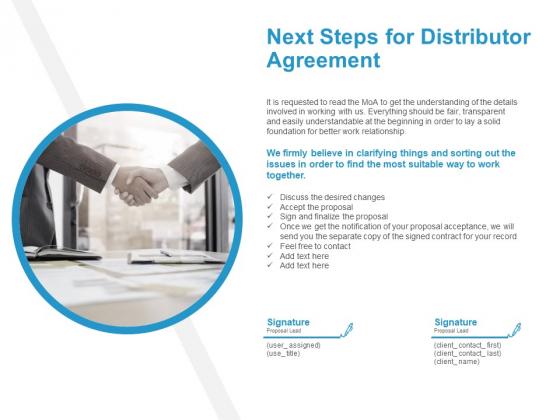Next Steps For Distributor Agreement Communication Ppt PowerPoint Presentation Templates