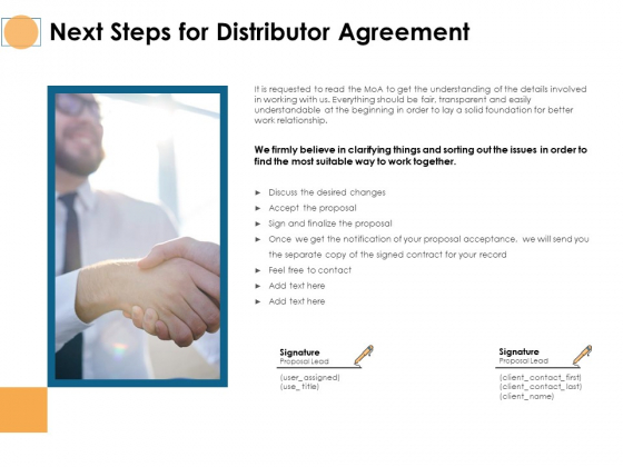 Next Steps For Distributor Agreement Ppt PowerPoint Presentation Slides Inspiration