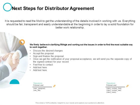 Next Steps For Distributor Agreement Ppt PowerPoint Presentation Styles Inspiration