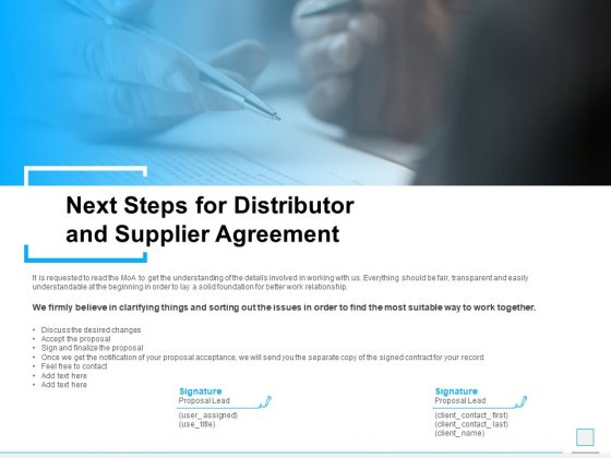 Next Steps For Distributor And Supplier Agreement Ppt PowerPoint Presentation Professional Files