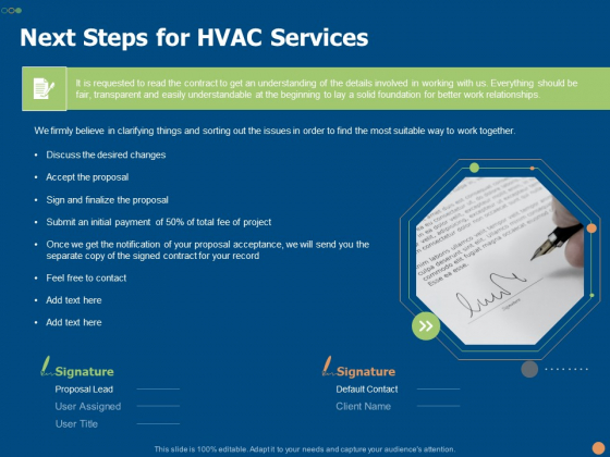 Next Steps For HVAC Services Ppt PowerPoint Presentation Infographic Template Aids PDF