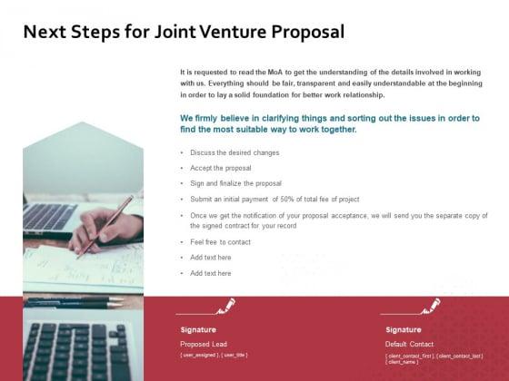 Next Steps For Joint Venture Proposal Ppt PowerPoint Presentation Slides Graphics Tutorials