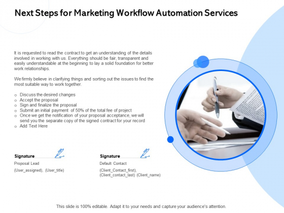 Next Steps For Marketing Workflow Automation Services Ppt PowerPoint Presentation Inspiration Shapes PDF