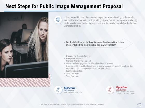 Next Steps For Public Image Management Proposal Ppt PowerPoint Presentation Model Master Slide