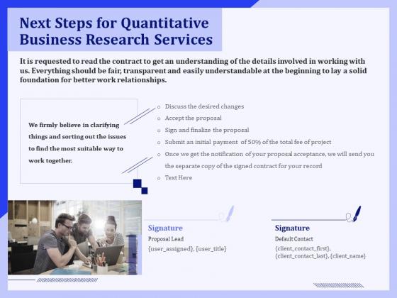 Next Steps For Quantitative Business Research Services Ppt PowerPoint Presentation File Design Inspiration PDF