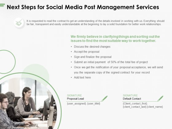 Next Steps For Social Media Post Management Services Ppt PowerPoint Presentation Outline Layouts PDF
