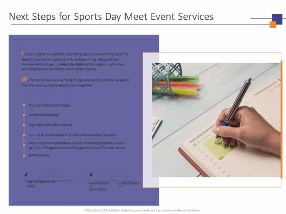 Next Steps For Sports Day Meet Event Services Ppt PowerPoint Presentation Gallery Deck