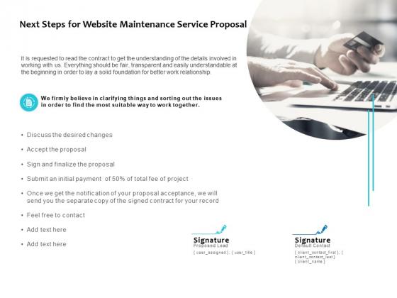 Next Steps For Website Maintenance Service Proposal Ppt PowerPoint Presentation Slides Graphics