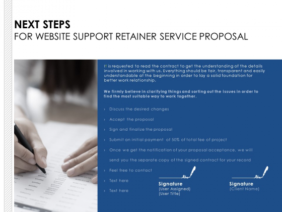 Next Steps For Website Support Retainer Service Proposal Ppt PowerPoint Presentation Model Ideas