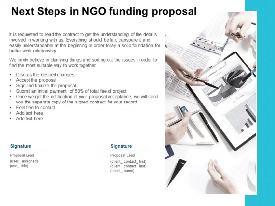 Next Steps In NGO Funding Proposal Ppt PowerPoint Presentation Background Images