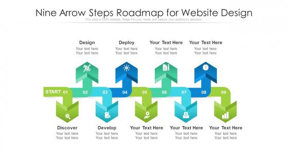 Nine Arrow Steps Roadmap For Website Design Ppt PowerPoint Presentation Icon Professional PDF