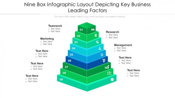 Nine Box Infographic Layout Depicting Key Business Leading Factors Ppt PowerPoint Presentation File Slideshow PDF