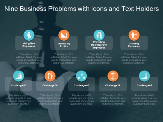 Nine Business Problems With Icons And Text Holders Ppt PowerPoint Presentation Professional Templates
