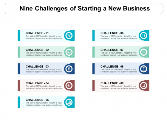Nine Challenges Of Starting A New Business Ppt PowerPoint Presentation File Graphics Design