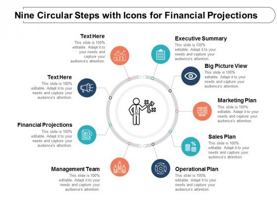 Nine Circular Steps With Icons For Financial Projections Ppt Powerpoint Presentation Gallery Outfit