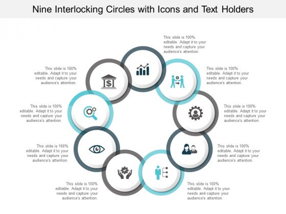 Nine Interlocking Circles With Icons And Text Holders Ppt PowerPoint Presentation Show