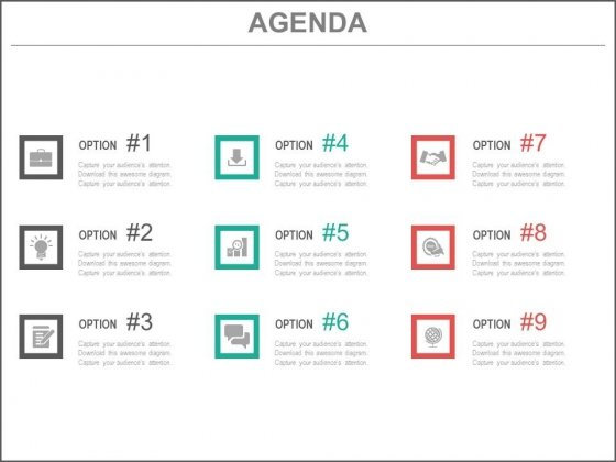 Nine Options Infographics Agenda Powerpoint Slides