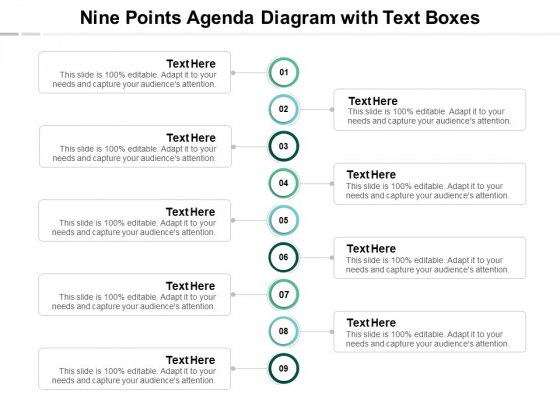 Nine Points Agenda Diagram With Text Boxes Ppt PowerPoint Presentation Gallery Infographic Template