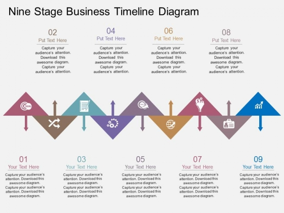 Nine Stage Business Timeline Diagram Powerpoint Template