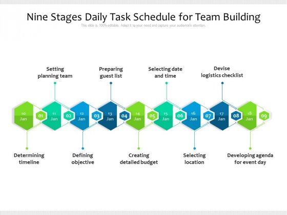 Nine Stages Daily Task Schedule For Team Building Ppt PowerPoint Presentation Gallery Sample PDF