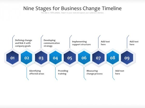 Nine Stages For Business Change Timeline Ppt PowerPoint Presentation Gallery Outfit PDF