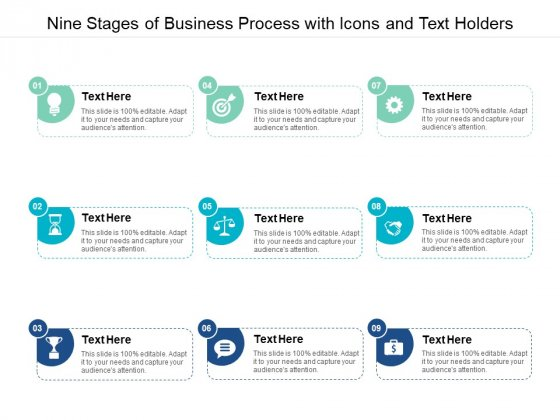 Nine Stages Of Business Process With Icons And Text Holders Ppt PowerPoint Presentation Professional Pictures