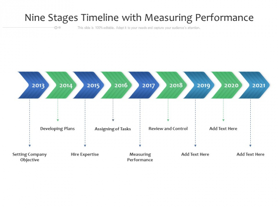 Nine Stages Timeline With Measuring Performance Ppt PowerPoint Presentation File Example File PDF