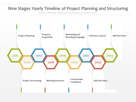Nine Stages Yearly Timeline Of Project Planning And Structuring Ppt PowerPoint Presentation File Brochure PDF