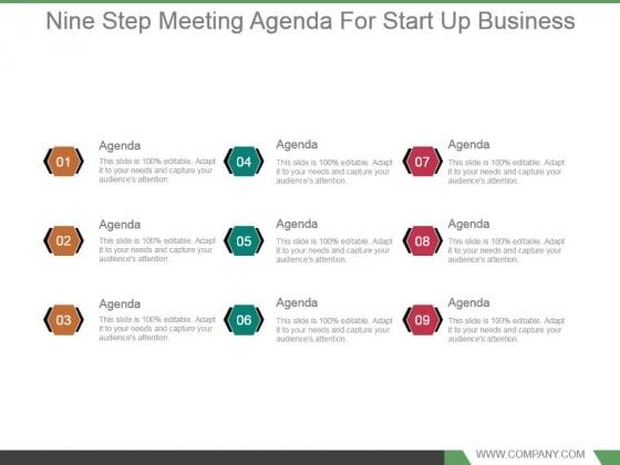 Nine Step Meeting Agenda For Start Up Business Powerpoint Slide Template