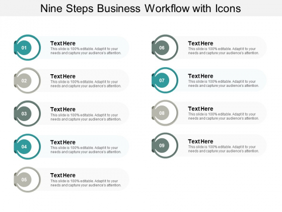 Nine Steps Business Workflow With Icons Ppt PowerPoint Presentation Icon Visuals