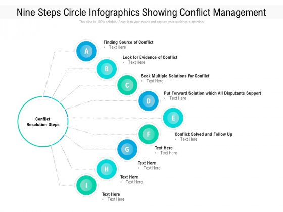 Nine Steps Circle Infographics Showing Conflict Management Ppt PowerPoint Presentation File Maker PDF