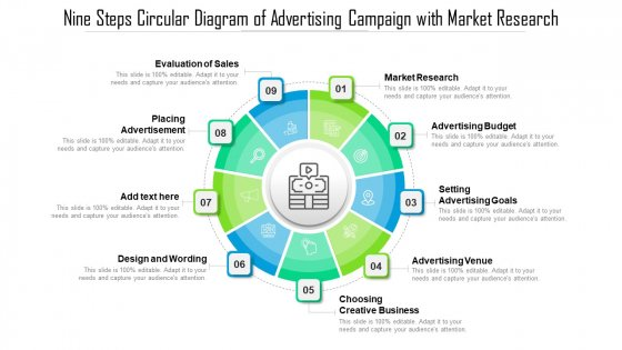 Nine Steps Circular Diagram Of Advertising Campaign With Market Research Ppt Infographic Template Template PDF