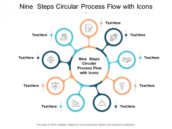 Nine Steps Circular Process Flow With Icons Ppt PowerPoint Presentation Model Graphics Template