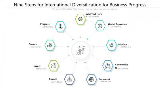 Nine Steps For International Diversification For Business Progress Ppt Powerpoint Presentation File Ideas PDF