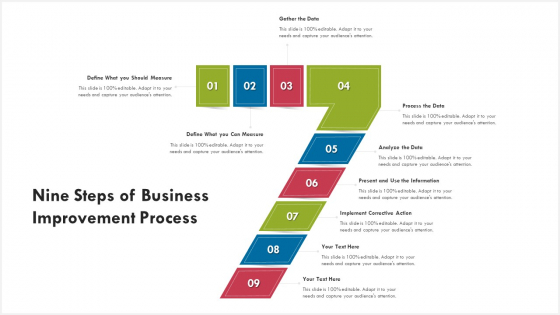 Nine Steps Of Business Improvement Process Ppt PowerPoint Presentation Gallery File Formats PDF